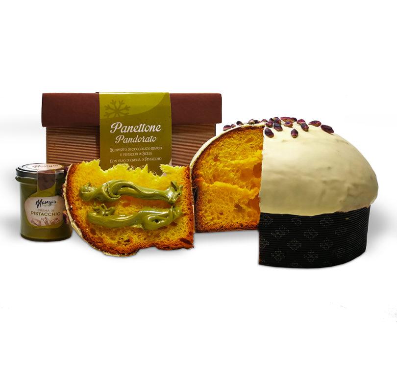 Panettone pandorato al pistacchio con vaso di crema di pistacchio